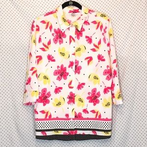 Alia Floral Button Down 3/4 Sleeve Textured Blouse